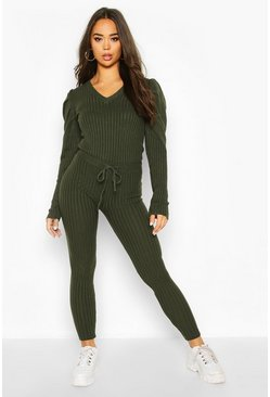 Khaki Puff Shoulder Rib Knit Lounge Set