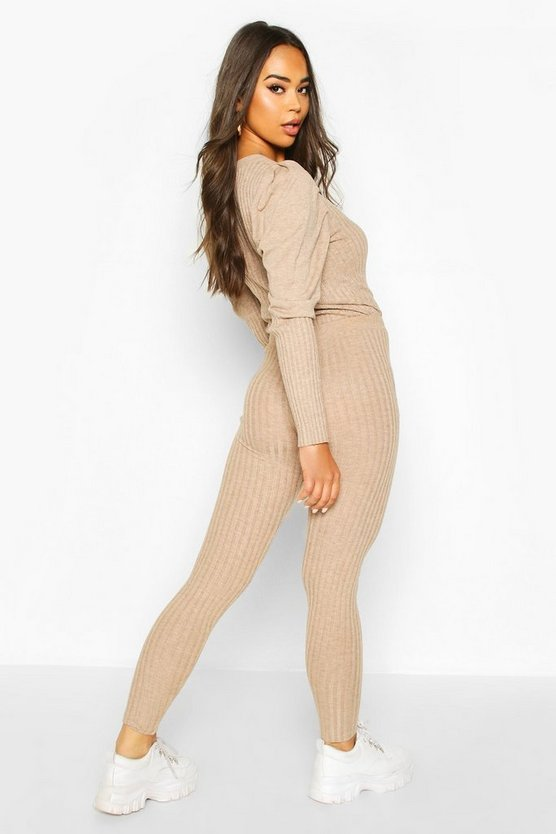 Puff Shoulder Rib Knit Lounge Set