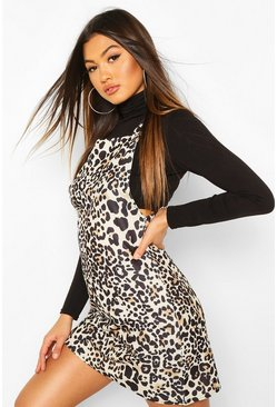 Leopard Square Neck Pinny Dress, Stone