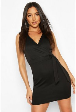 Wrap Tie Detail Pinny Dress, Black