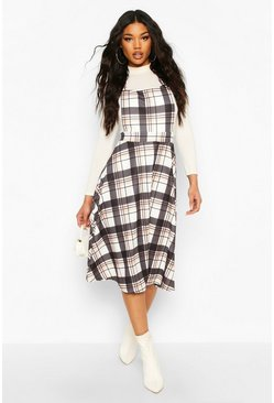 Check Pinafore Dress, Stone