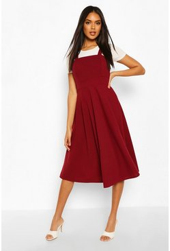 Pinafore Midi Skater Dress, Berry