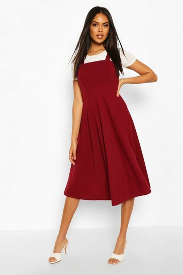 Berry Pinafore Midi Skater Dress