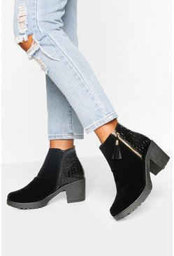 Black Croc Panel Zip Chunky Chelsea Boots