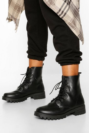 Black Chunky Cleated Hiker Boots