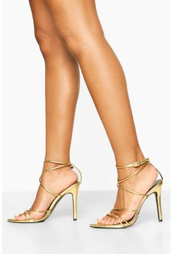Pointed Toe Strappy Heels, Gold