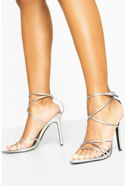 Pointed Toe Strappy Heels, Silver