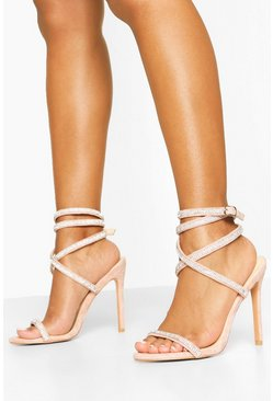 Nude Embellished Wrap Strap Stiletto Sandals