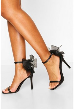 Bow Back Two Part Heels, Black
