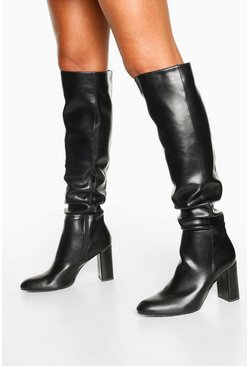 Block Heel Knee High Boots, Black