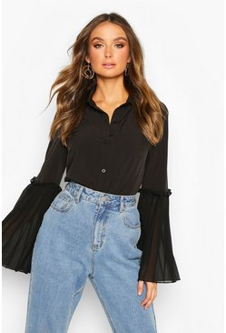 Black Pleat Sleeve Detail Shirt