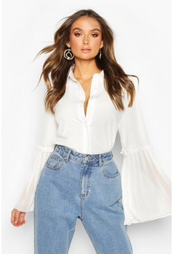Womens White Pleat Sleeve Detail Shirt