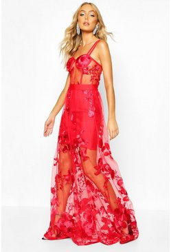 Embroidered Bustier Mesh & Bandage Maxi Dress, Red