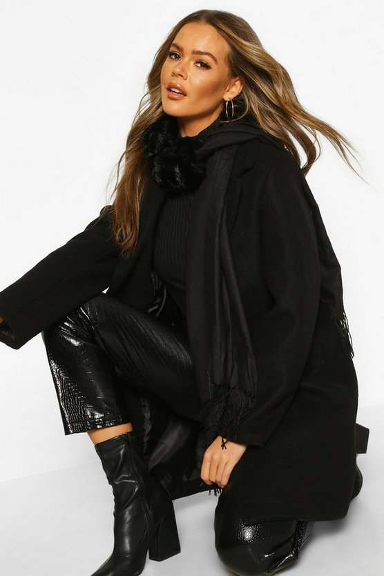 Womens Black Mixed Faux Fur Combo Scarf