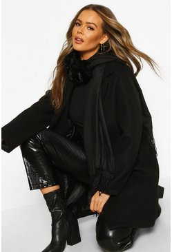 Mixed Faux Fur Combo Scarf, Black