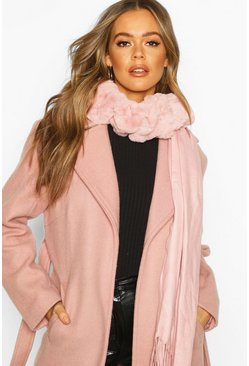Mixed Faux Fur Combo Scarf, Blush