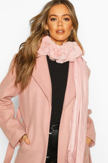 Womens Blush Mixed Faux Fur Combo Scarf