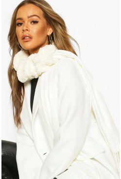 Womens Cream Mixed Faux Fur Combo Scarf