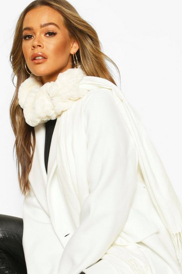 Cream Mixed Faux Fur Combo Scarf