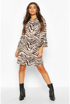 Camel Crew Neck Mini Dress With Tiered Frill Sleeves