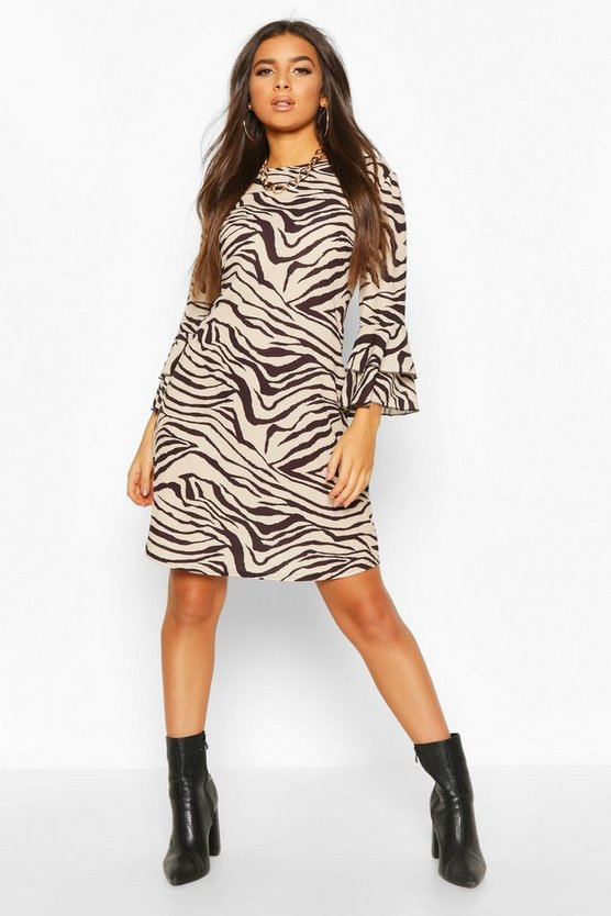 Crew Neck Mini Dress With Tiered Frill Sleeves