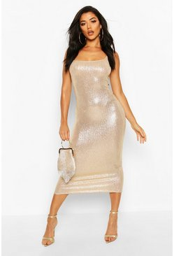 Womens Gold Foil Print Rib Midi Dress