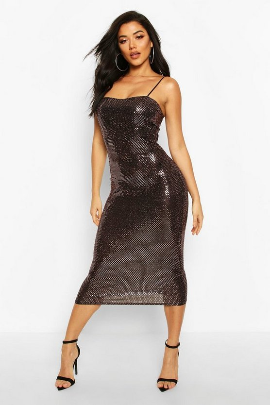 Womens Gold Sequin Dot Strappy Midaxi Dress