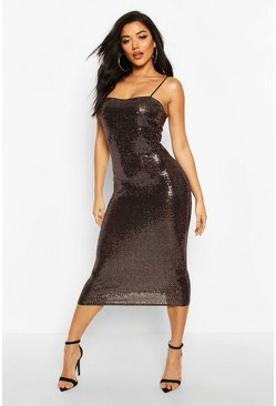 Sequin Dot Strappy Midaxi Dress, Gold, MUJER