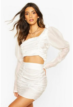 Woven Rouched Mini Skirt, White