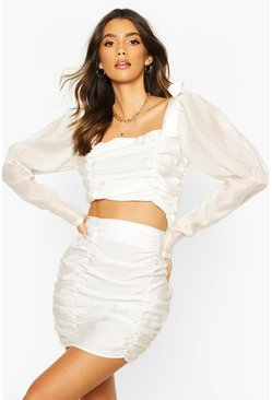 White Woven Rouched Detail Organza Sleeve Crop Top