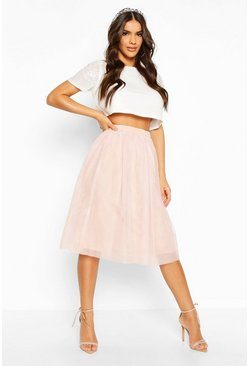 Womens Blush Sequin Top And Contrast Midi Skirt Co-Ord