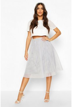 Grey Sequin Top And Contrast Midi Skirt Co-Ord