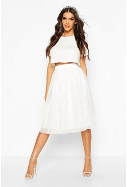 Sequin Top And Contrast Midi Skirt Co-Ord, White