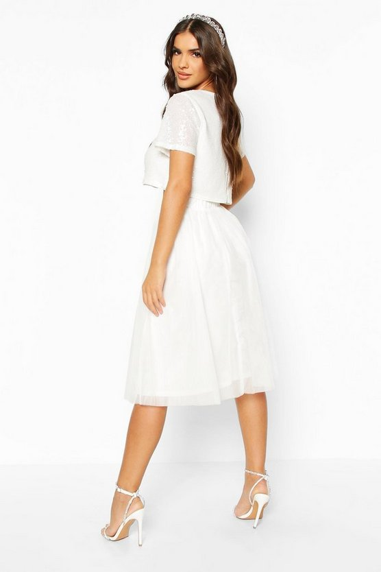 Sequin Top And Contrast Midi Skirt Co-Ord