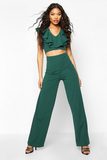 Womens Emerald Ruffle Detail Crop And Wide Leg Trouser Co-ord