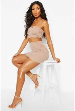 Mesh Strappy Top Mini Skirt Co-ord, Stone