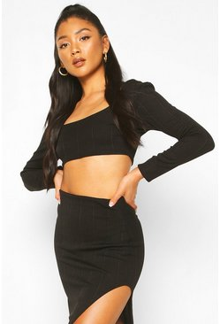 Black Long Sleeve Bandage Top And Skirt Co-ord Set