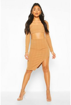 Long Sleeve Bandage Top And Skirt Co-ord Set, Mocha