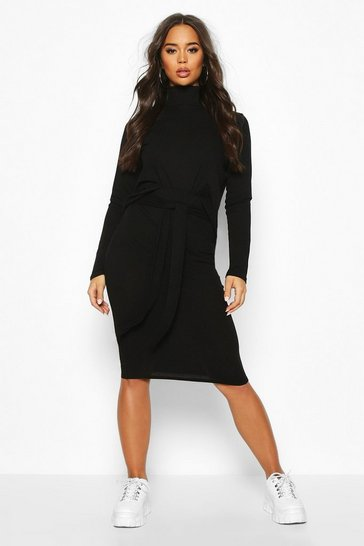 Black Soft Rib High Neck Top And Tie Waist Midi Skirt Co-ord