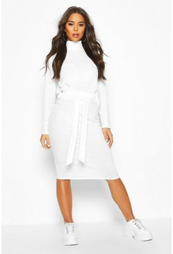 Ecru Soft Rib High Neck Top And Tie Waist Midi Skirt Co-ord