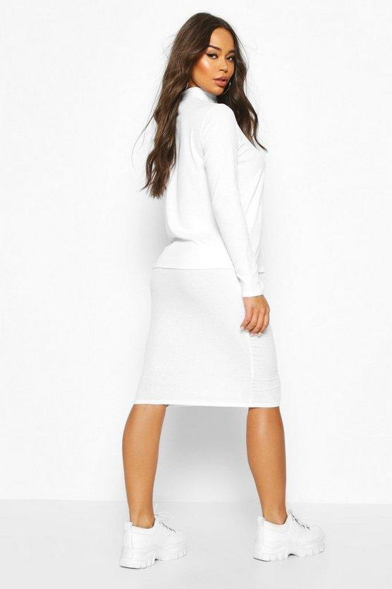 Soft Rib High Neck Top And Tie Waist Midi Skirt Co-ord