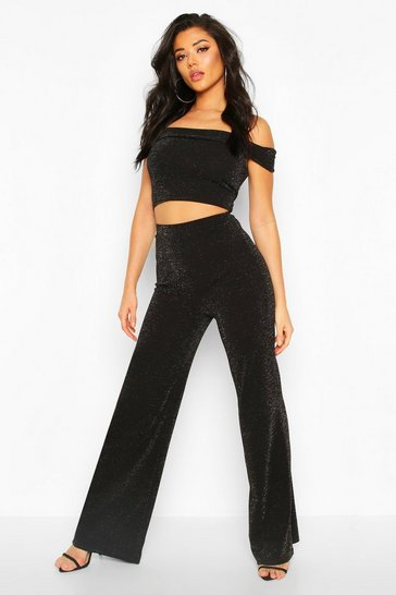 Womens Black Metallic Bardot And Wide Leg Trouser Co-ord