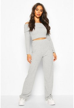 Grey Soft Rib Off Shoulder Top And Wide Leg Trouser Co-ord