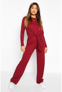 Rib Knot Tie Front And Trouser Co-ord, Wine
