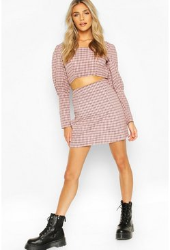 Woven Check Mini Skirt, Pink