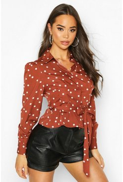Polka Dot Tie Waist Puff Sleeve Shirt, Brown