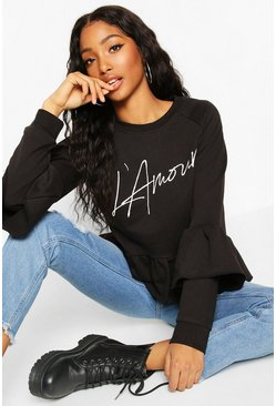 Womens Black French Slogan Ruffle Detail Sweat