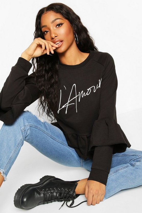 French Slogan Ruffle Detail Sweat