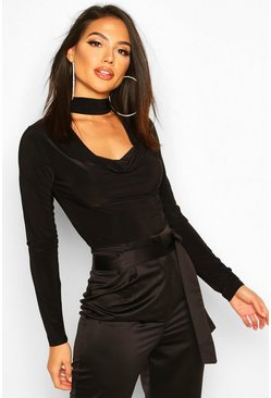 Cowl Neck Choker Neck Long Sleeved Slinky Body, Black, FEMMES