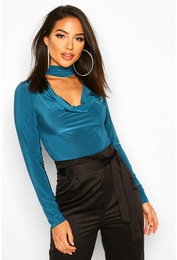 Womens Teal Cowl Neck Choker Neck Long Sleeved Slinky Body